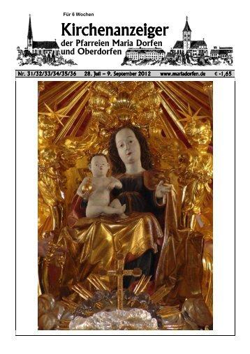 Kirchenanzeiger 28. Juli - 9. September 2012