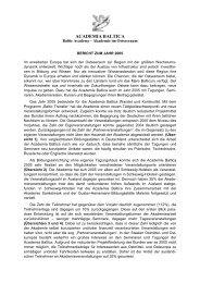Den vollständigen Bericht 2005 können Sie sich ... - Academia Baltica