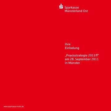 """Sparkasse Münsterland Ost Ihre Einladung """"Praxisstrategie 2011 ff ..."""
