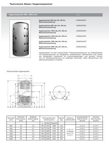 Hygienespeicher 600 - 2000 Liter Technische Daten Hygienespeicher