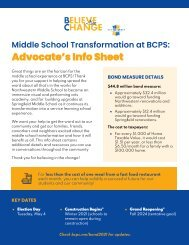 BCPS Middle School Transformation Bond Info Sheet