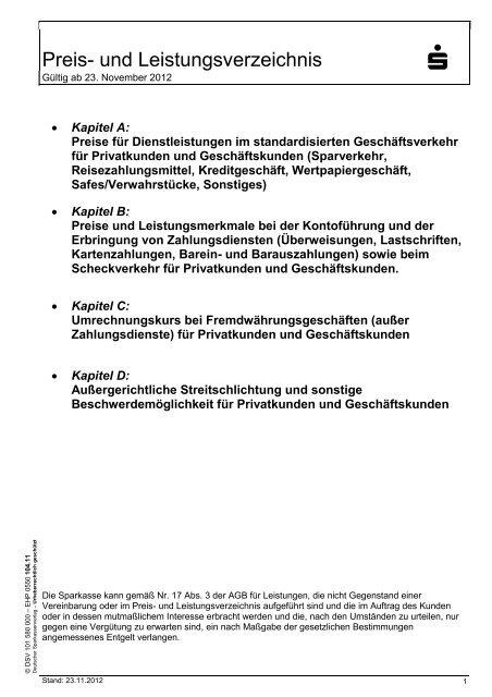 und Leistungsverzeichnis - Sparkasse Neumarkt i d OPf-Parsberg