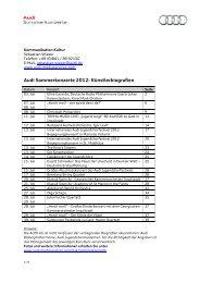 Audi Sommerkonzerte 2012: Künstlerbiografien - Audi MediaServices