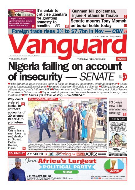 11022021 - Nigeria failing on account of insecurity — SENATE