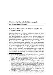Wissenschaftliche Politikberatung als ... - transcript Verlag