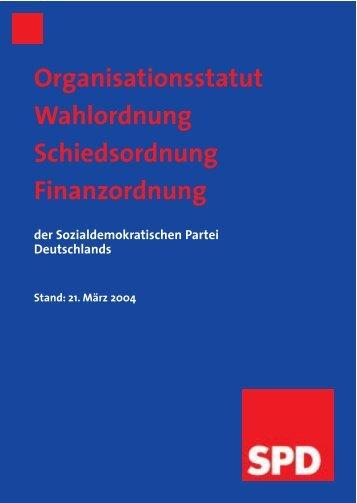 Organisationsstatut Wahlordnung Schiedsordnung Finanzordnung