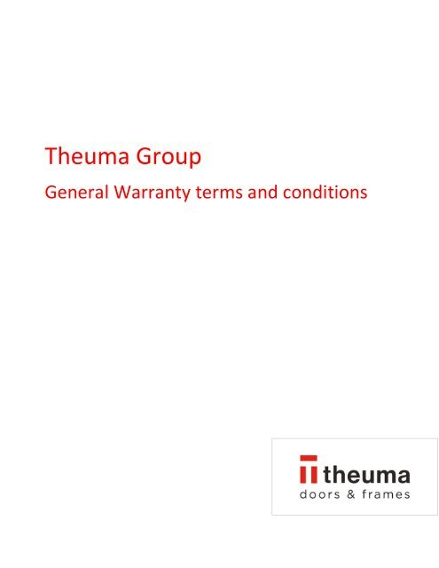 2021 02 Theuma Group General Warranty terms and conditions