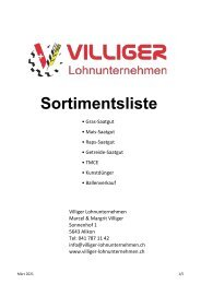 Sortimentsliste Villiger-Lohnunternehmen