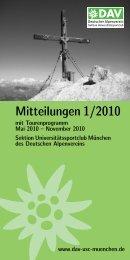 Mitteilungen 1/2010 - Sektion USC München des DAV