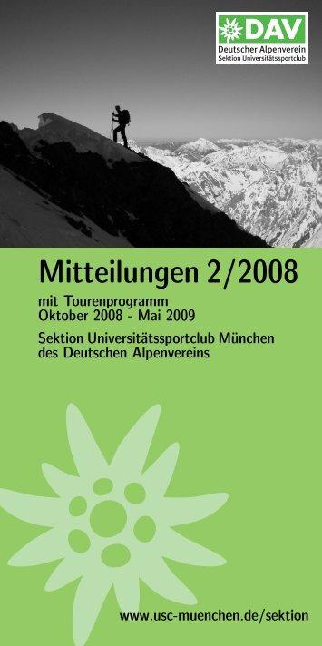 Mitteilungen 2/2008 - Sektion USC München des DAV
