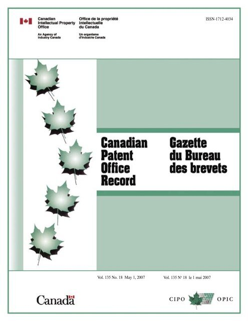 Canadian Patents Issued Industrie Canada