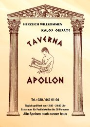 © Speisekarten Shop.de - Taverna Apollon