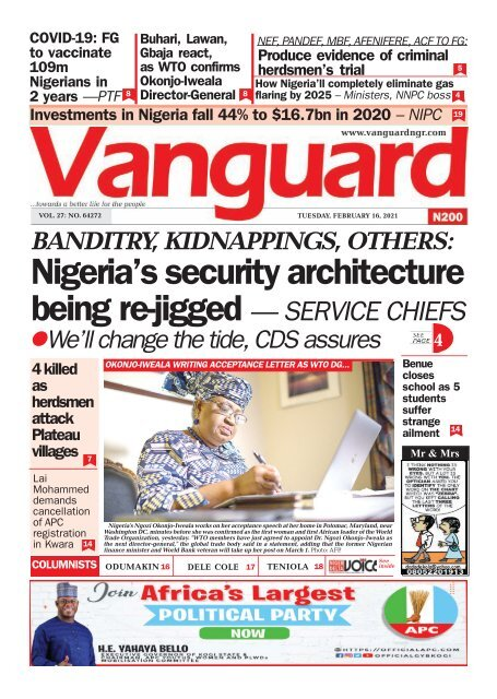 16022021 - Nigeria's security architecture being re-jigged — SERVICE CHIEFS