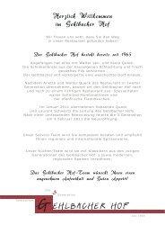 Speisekarte - Restaurant Gehlbacher Hof