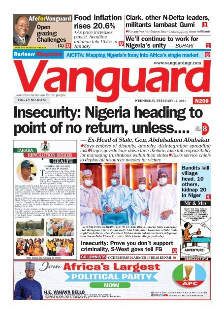 17022021 - Insecurity: Nigeria heading to point of no return, unless....