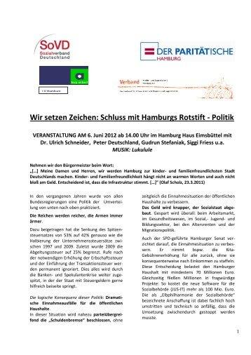 Wir setzen Zeichen: Schluss mit Hamburgs Rotstift - Politik