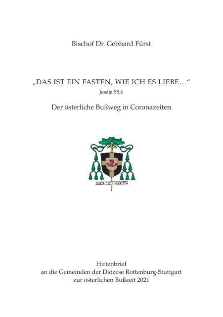 Hirtenbrief an die Gemeinden der Diözese Rottenburg-Stuttgart zur österlichen Bußzeit 2021