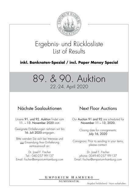 89. & 90. Auktion - Ergebnisliste - Emporium Hamburg