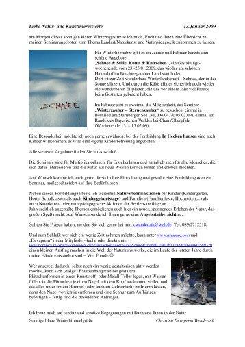 Liebe Natur- und Kunstinteressierte, 13.Januar 2009 - NaturKunst ...