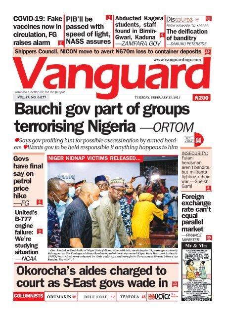 23022021 - Bauchi gov part of groups terrorising Nigeria —ORTOM