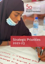 Berghof Foundation: Strategic Priorities 2021-23