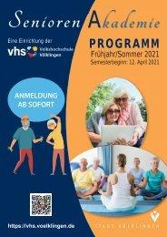 Programm der Seniorenakademie Frühjahr/Sommer 2021