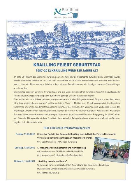 KRAILLING FEIERT GEBURTSTAG - Gemeinde Krailling