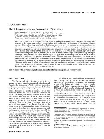 The ethnoprimatological approach in primatology - Agustin Fuentes ...