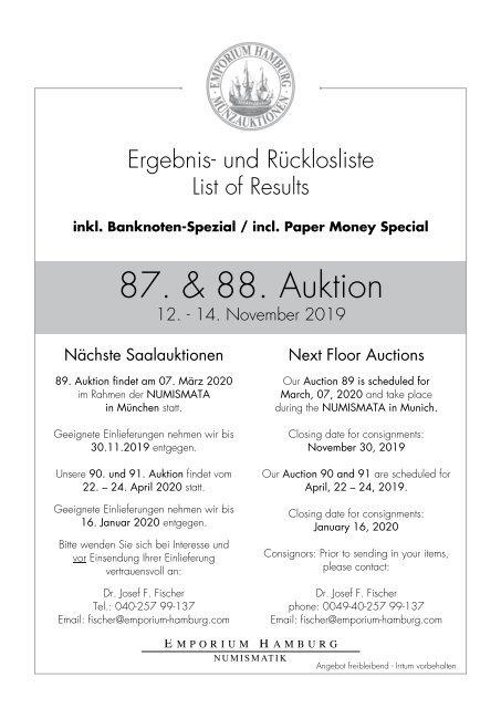 87. & 88. Auktion - Ergebnisliste - Emporium Hamburg