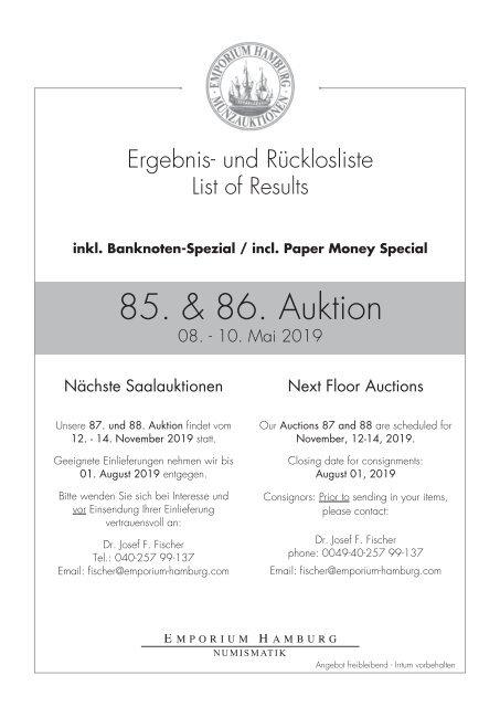 85. & 86. Auktion - Ergebnisliste - Emporium Hamburg