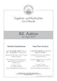 84. Auktion - Ergebnisliste - Emporium Hamburg