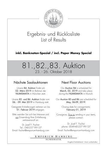 81., 82. & 83. Auktion - Ergebnisliste - Emporium Hamburg