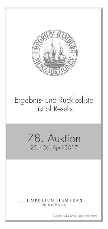 78. Auktion - Ergebnisliste - Emporium Hamburg