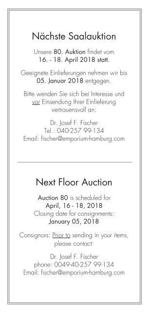 Ergebnisliste Auktion 79