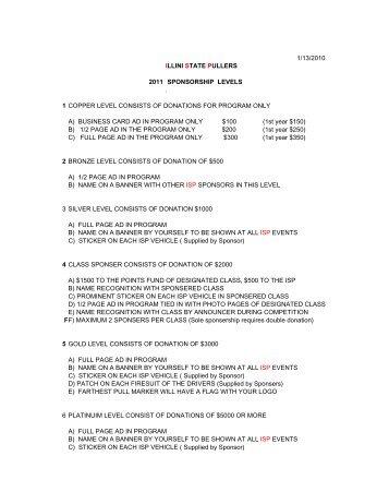 sponsorship info - Illini State Pullers