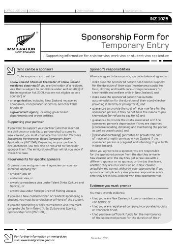 Sponsorship Form for Temporary Entry (INZ 1025) - Immigration ...