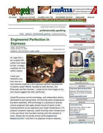 Engineered Perfection in Espresso - Espresso Vivace
