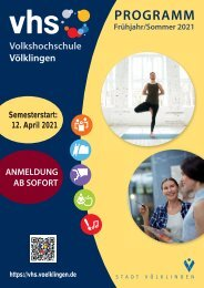 Virtueller Blätterkatalog der vhs Völklingen Hauptprogramm Frühjahr/Sommer 2021