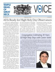 Is Ready for High Holy Day Observances - Temple Israel of Great Neck