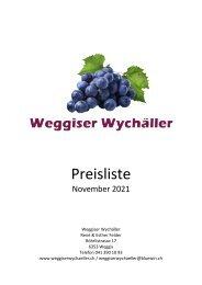 Preisliste Wggiser Wychäller