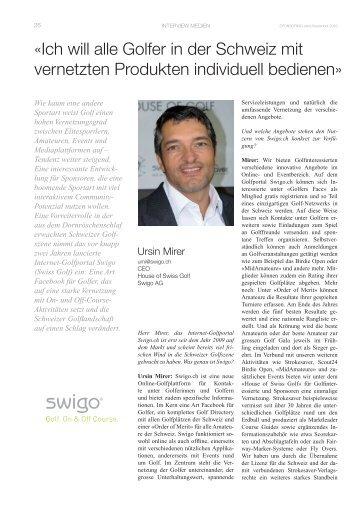 House of Swiss Golf / Swigo.ch-11-2010 - Sponsoring Extra