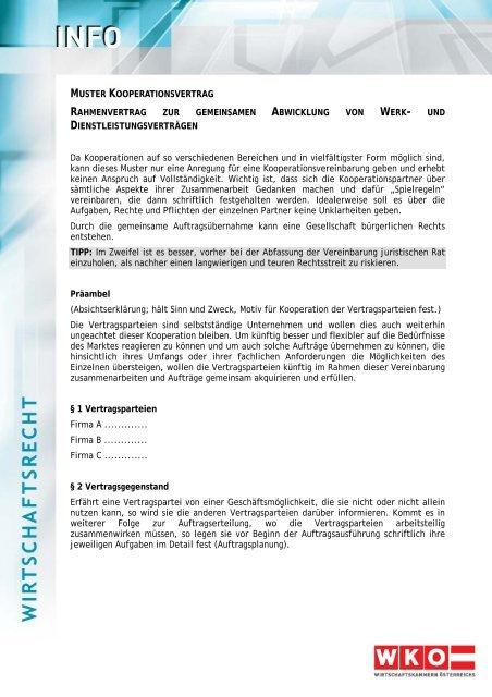 Muster Kooperationsvertrag