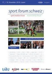 finden Sie das vollständige Programm - Sport.forum.schweiz