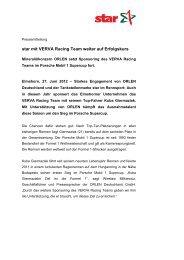 PDF: star mit VERVA Racing Team weiter auf - ORLEN Deutschland