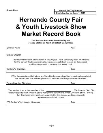 Hernando County Fair & Youth Livestock Show Market Record Book