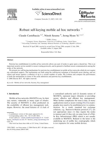 Robust self-keying mobile ad hoc networks - UAB Department of ...
