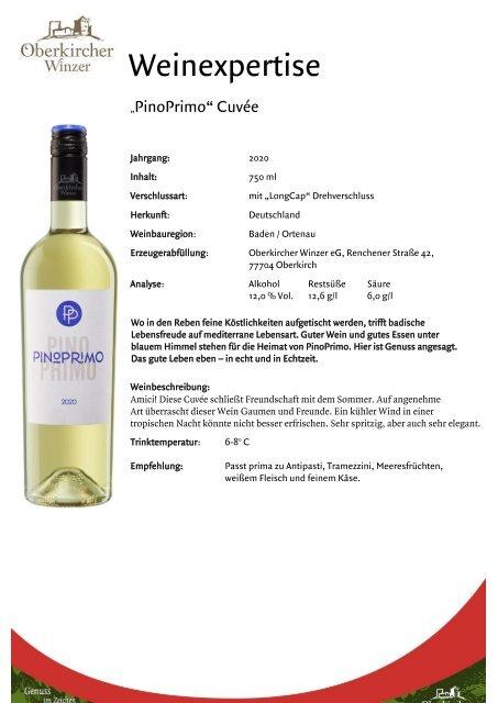 Weinexpertise PinoPrimo Weiss