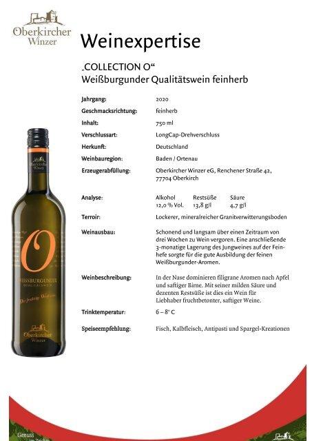 Weinexpertise Weissburgunder Qualitätswein feinherb