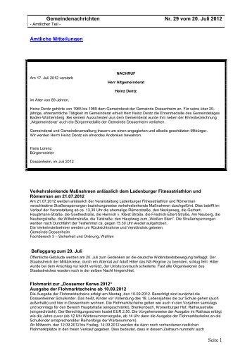 Ausgabe 29 vom 20. Juli 2012.pdf - Gemeinde Dossenheim