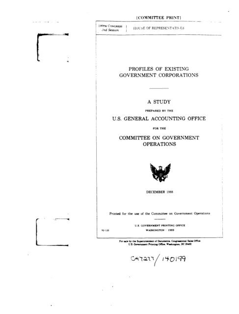 Profiles of Existing Government Corporations - US Government ...